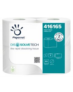 Dissolve Tech 1ply Conventional Toilet Roll White (pure) 850 sheet