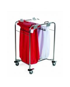 Laundry Cart - 2 bag Cart with White, Red Lids 66x93x49cm