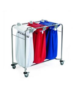 Laundry Cart - 3 bag Cart with White, Red, Blue Lids 100x93x49cm