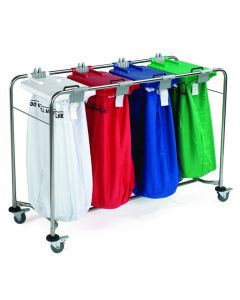 Laundry Cart - 4 bag Cart with White, Red, Blue, Green Lids 135x93x49cm