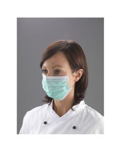 Non Woven Polypropylene Face Mask with Loops 3 ply, Green