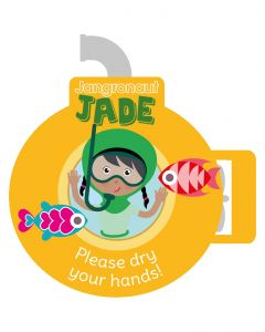 Jangronauts Paper Dispenser JADE Stickers - Please dry your hands