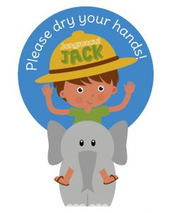 Jangronauts Paper Dispenser JACK Stickers - Please dry your hands