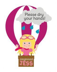Jangronauts Paper Dispenser JESS Stickers - Please dry your hands