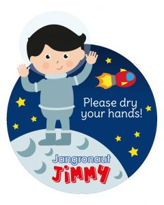 Jangronauts Paper Dispenser JIMMY Stickers - Please dry your hands