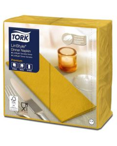 Tork Linstyle Dinner Napkin 8 Fold 39cm x 39cm, Mustard 1 ply